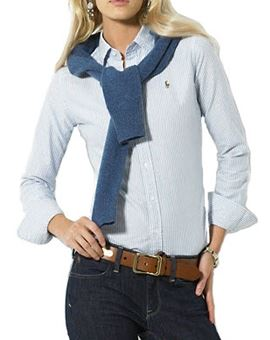 Ralph Lauren ladies blue striped shirt.JPG