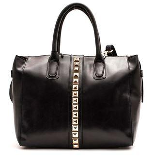 Coco Kitten - Black and gold studs leather handbag.JPG
