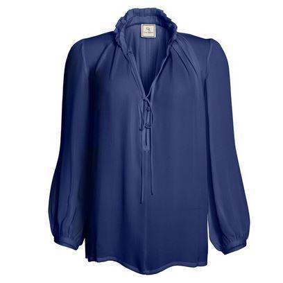 Sambag navy silk frill shirt.JPG