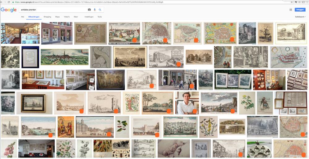 SEO resultaat op Google 'afbeeldingen' binnen enkele weken (oranje markeringen)