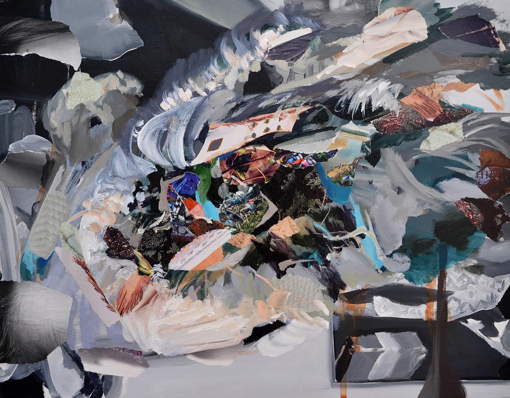 Flotsam .  2015 Acrylic and collage on canvas 45 x 35cm