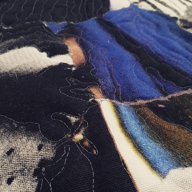 Detail of something new #wip #ehryntorrell . . . . . #collage #BritishVogue #thenewvogue #faahionmagazine #textiles #embroidery #quilting #layers #contemporarypainting #interdisciplinary #feminism #femalevoices #stitch #stitching #sewing #sewn #pieced #deconstruction #assemblage #femmage