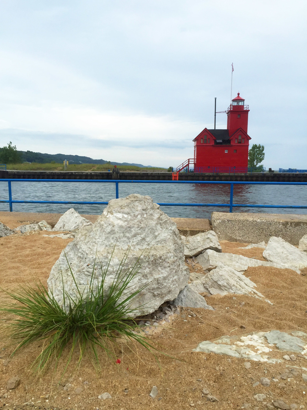 Red lighthouse in Holland State Park.