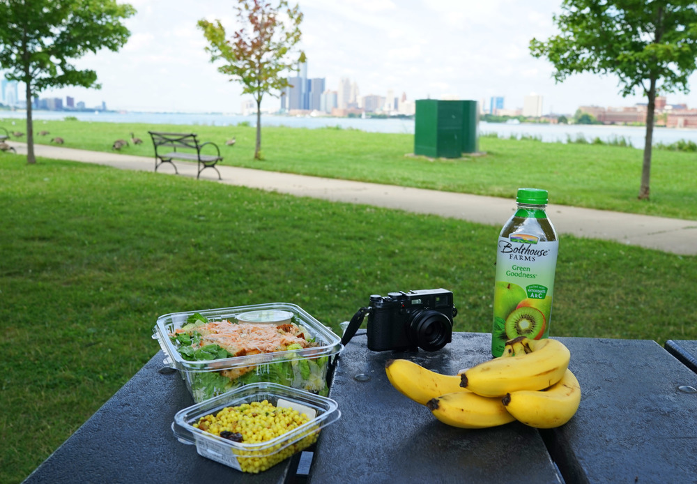Whole Foods picnic in front of the Detroit and Windsor, Canada skyline.