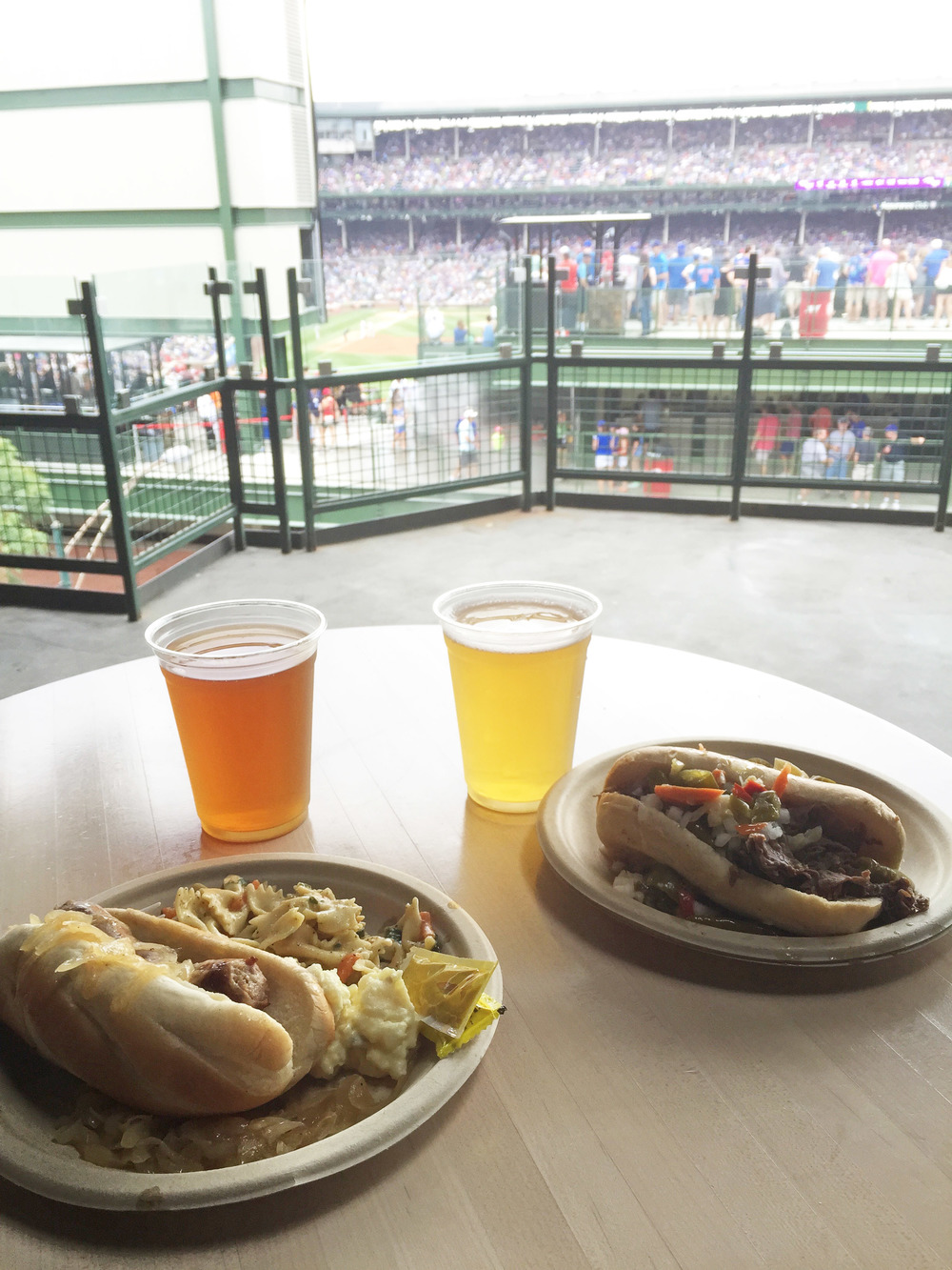 Bratwurst and an Italian beef. Shock Top and a Cider.