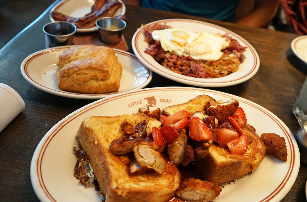 Bull's Eye French toast with eggs, crunchy chicken, on sweet onion brioche topped with BBQ maple syrup. Smoked Corn Beef Hash with Eggs, a Homemade Buttermilk Biscuit, and PQM Bacon.