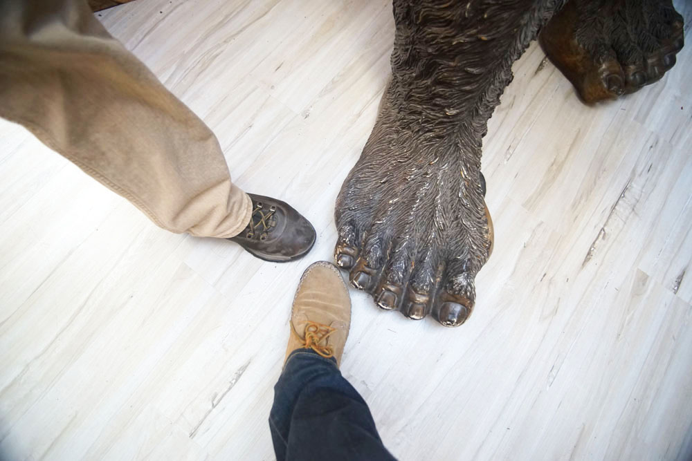 Comparing our shoe size to Bigfoot. He's compensating.