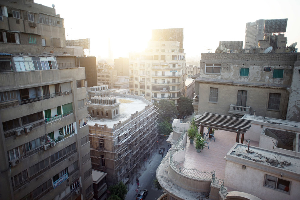 The view from my rooftop. You can see the Cairo Tower and the dome of the museum.