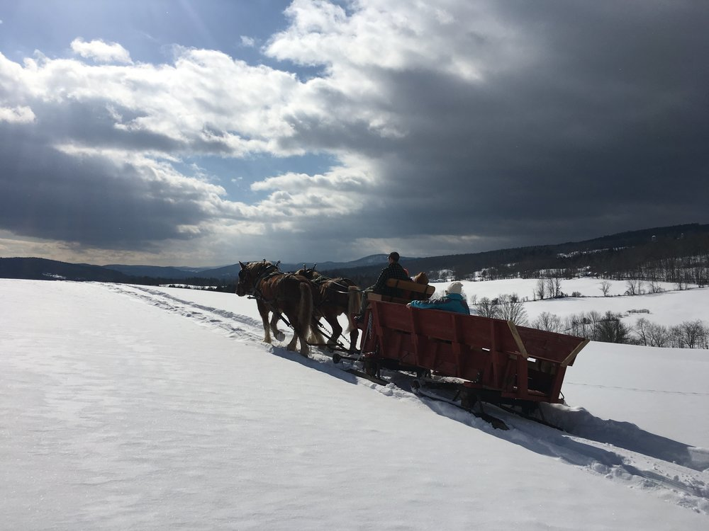 Sleigh rides with views of the working landscape and the White River Valley