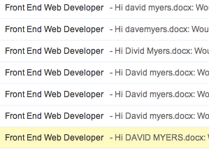 Recruiter mail merge fail - This is what I see in my inbox right now.