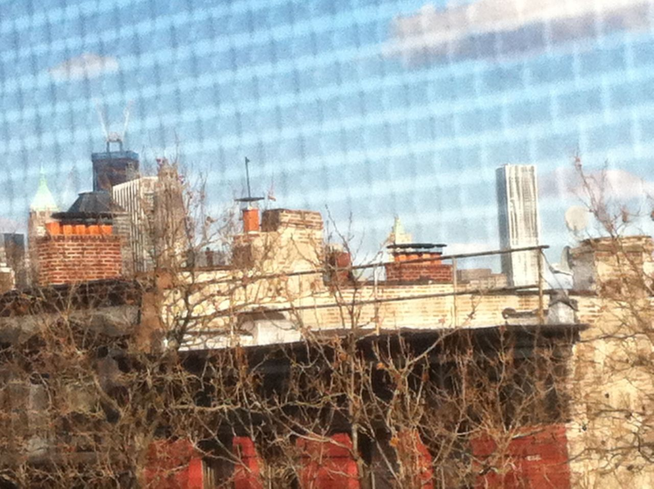 Lower Manhattan, as seen from my bedroom window. One World Trade Center (left) is going up at a rate of one story per week and was 92 stories tall on February 17th, one week ago. That puts it at 93 stories, 12 shy of its final height (not to mention the spire). This thing is awesomely massive. When my wife and I moved into our cobble hill apartment, we could see just the tops of Manhattan's buildings. Now, with the Gehry building and 1WTC coming into its own, we have a phenomenal view.