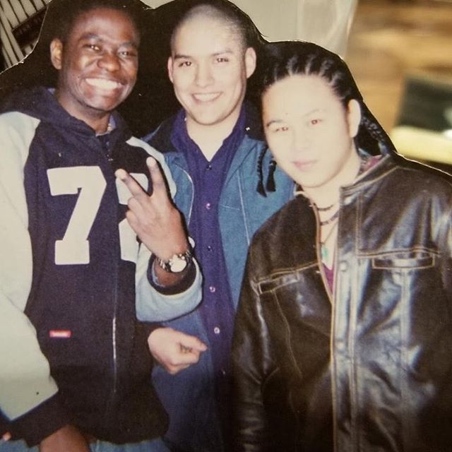 😂 haha, here's is a throwback of me in my college days at Pratt rocking the corn row hairdo with some of my besties ...😊 circa 2002 @_mobyle__lenz_ @luna8190
