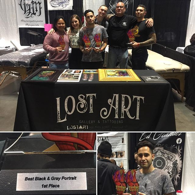 Here's a pic from last night at the end of Tommy's Tattoo Convention, just missing @gregmerola and @dennave.  I managed to snag first place black and grey portrait.  I am always so proud of what we represent and the hard work we put into things we create. Love the homies @stephbnave @mikesurprise @infinite_enigma @louisraeltattoos @tedrosato #tommystattooconvention