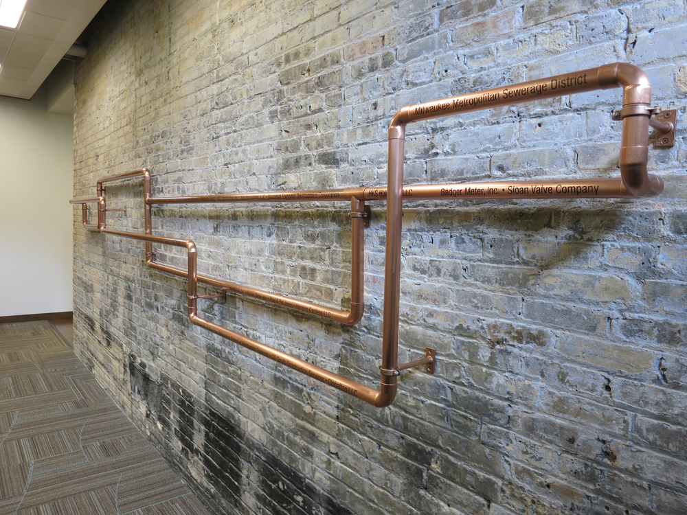 Global Water Center - Copper Tubing Donor Wall