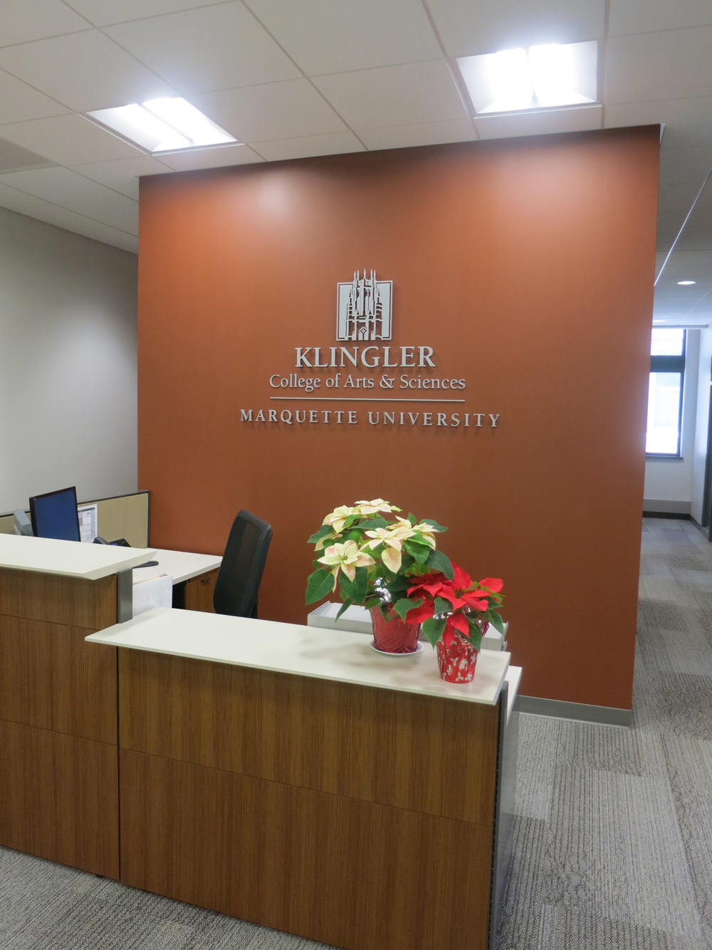 Marquette University - Klinger College of Arts & Sciences   Reception Wall Signage
