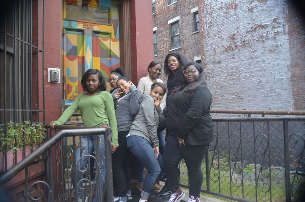 Members of the DREAM chapter on the front steps of Brotherhood/Sister Sol's Harlem offices. Left to right: Celeste Bond, Yessivette Ducasse, Rhanice Minton, Natalia Gonzales-Mañon, Ariana Hammonds, Tomme Garvin, Shalena Pope. Photo: Rob Waters