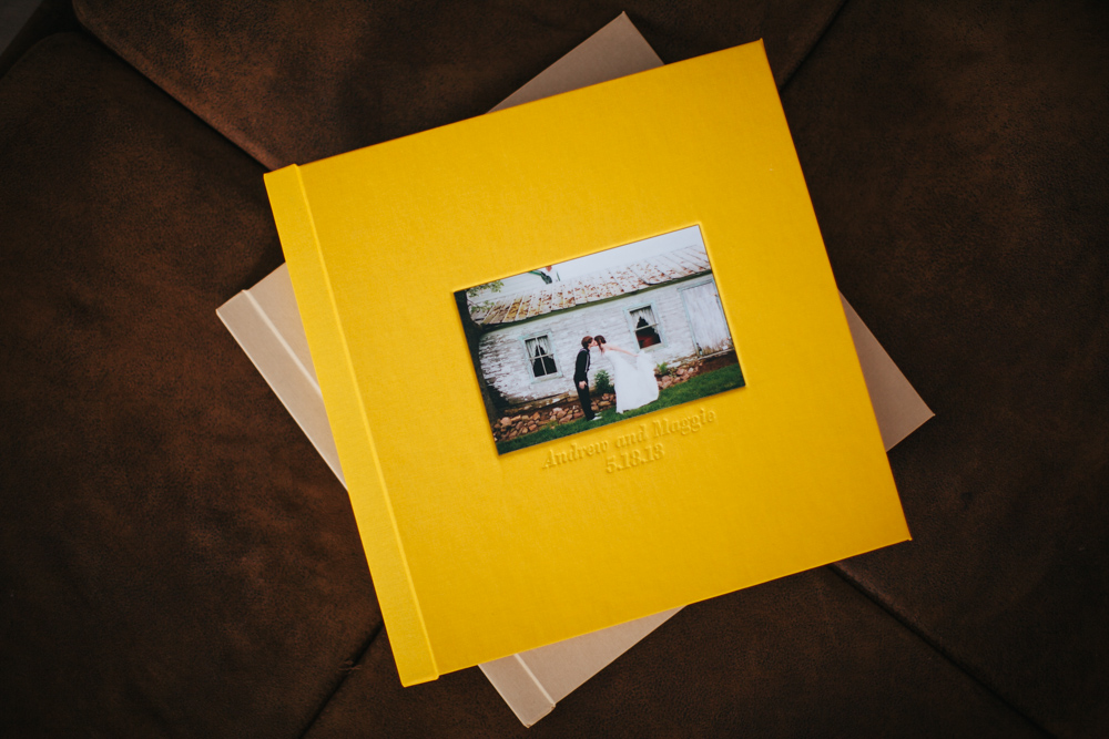 madera books linen wedding album yellow and tan