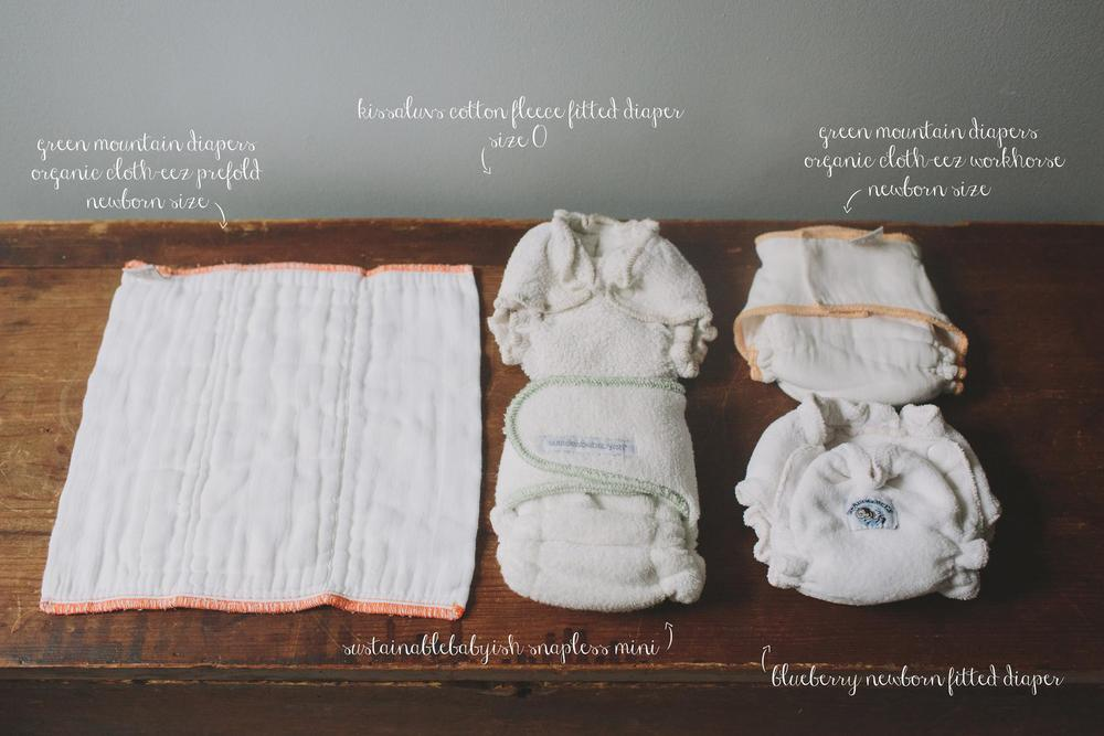 Newborn Fitted and Prefold Cloth Diapers
