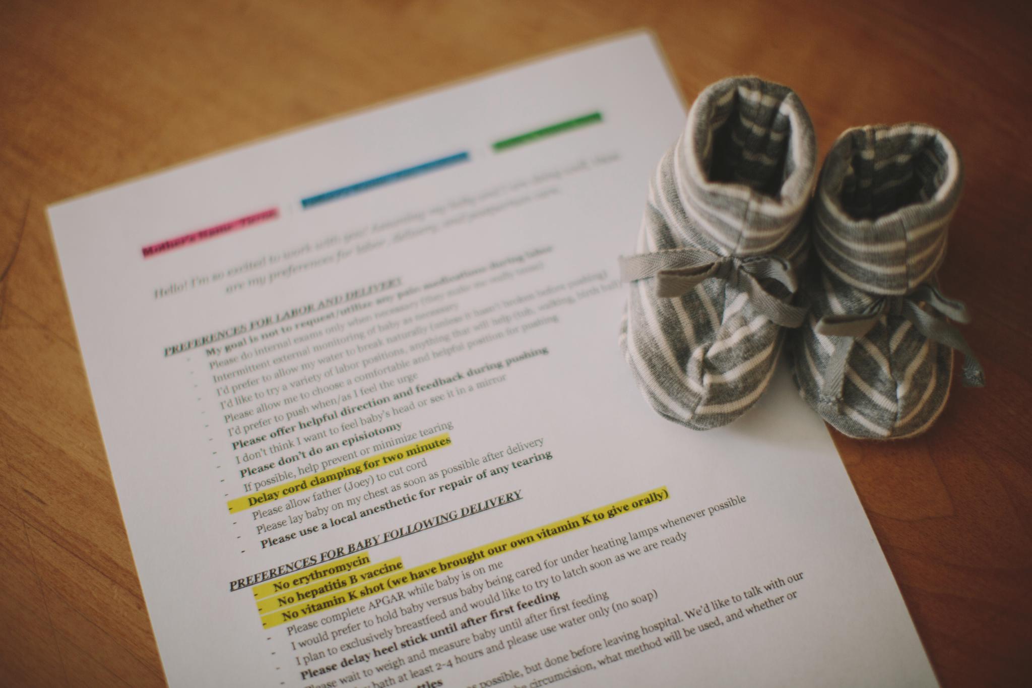 NonToxic Tuesday – Sample Birth Plan
