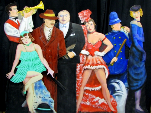 Gangster cutouts- 7 assorted gangster and jazz era cutouts. One sided on wood. From 5-6' tall.