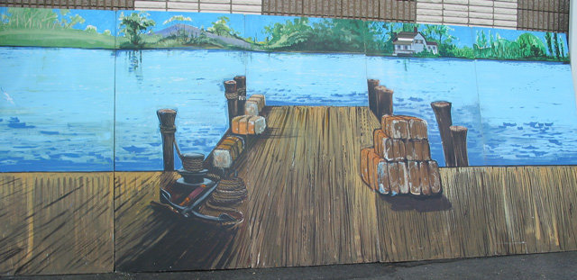 Dock Scenery:  Multiple pieces that can be put together for a total of 8' tall and 52' wide. foamcore