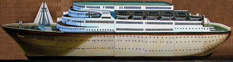 Cruise Ship Scene:  A nice piece that measures 8' tall and 32' wide on foamcore.