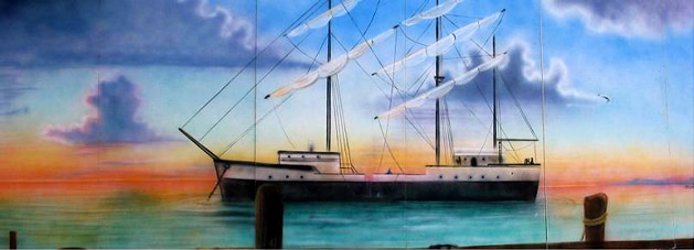 Tall Ship Haror Scene:  Tall Ship Scene on the water. Measuring 8' tall and 24' wide, foamcore.
