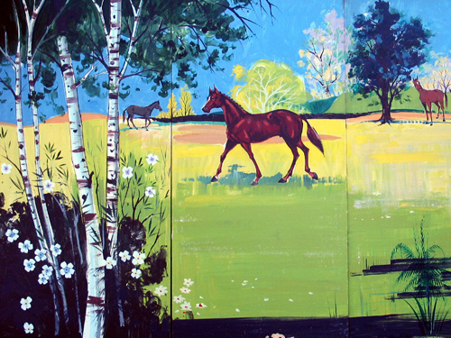 Equestrian Scene:  Small panel that depicts a horse and country setting. Measures 8' tall and 12' wide,foamcore.