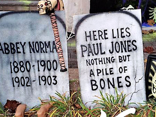 Assorted Wooden Tombstones: Measuring 3' tall and 2 feet wide, airbrushed, wood,