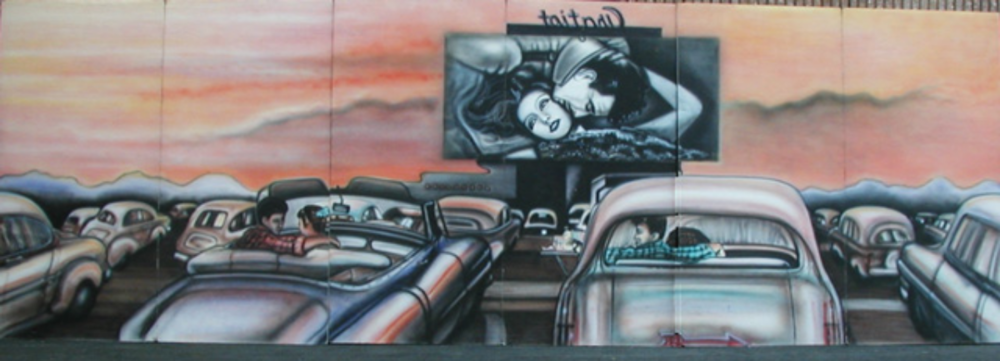 Drive in Movie Scene- Beautiful Drive in scene from the 1950's era. 8' tall and 24' wide, foamcore.
