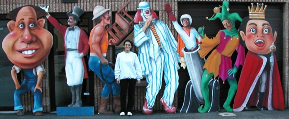 Assorted Circus Cutouts:  An assortment of pieces that vary in height from 6 to 8' tall. All on foamcore.  For perspective, that is a real person in the center.