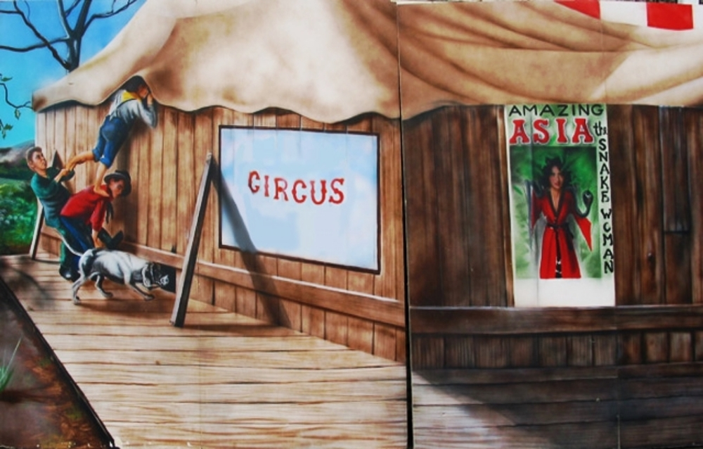 Circus Scene 4:  Backstage at the sideshow tent. Measures 8' tall and 16' wide, foamcore.