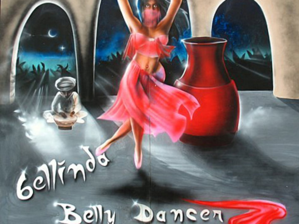 Belly Dancer Side Show Panel:  Measures 8' tall and 8' wide, foamcore.