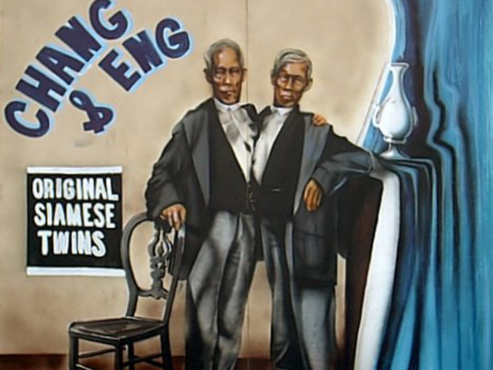 Siamese Twins Side Show Panel: Measures 8' tall and 8' wide, foamcore.