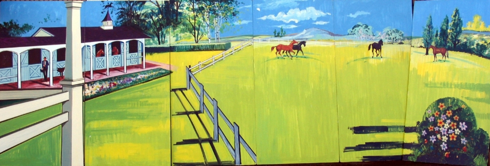Horse and Stables Scene:  Scene measures 8' tall and 24' wide, foamcore.