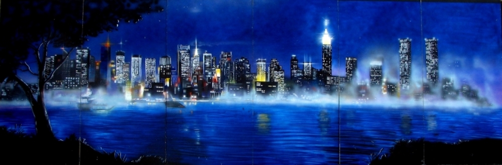 A brand new piece that shows a beautiful part of New York. Reflections of the buildings are in the Hudson River. Measures 8' high and 24' wide, foamcore.