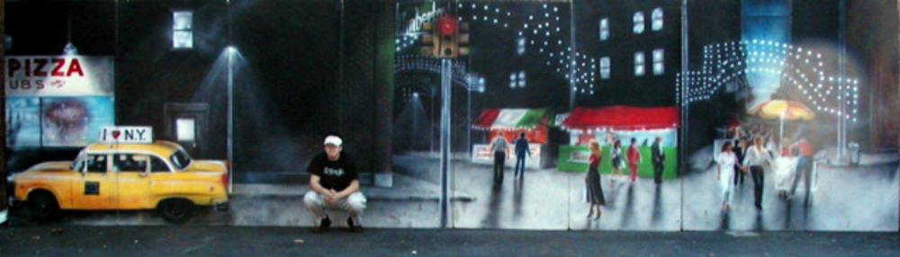 Little Italy- Scenery depicts a typical feast in downtown NYC. Measures 8 ft high and 40 ft wide, foam core
