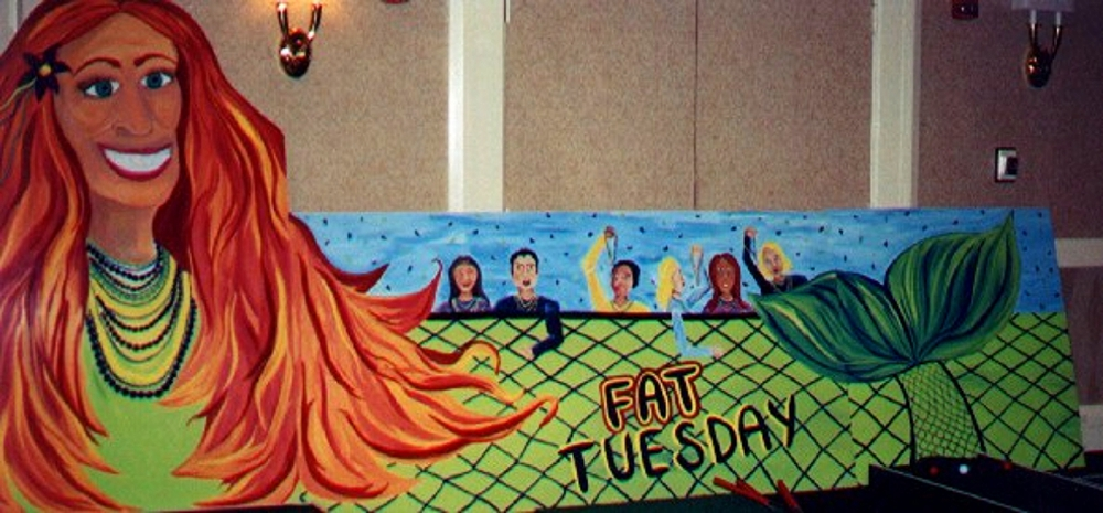 Fat Tuesday Float: 8' high and 16' wide, wood