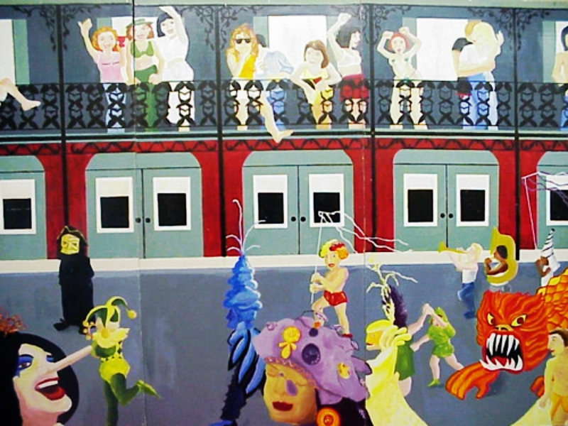 Mardi Gras Scenery Street/Building Scene:  measures 8ft high and 12 ft wide, wood