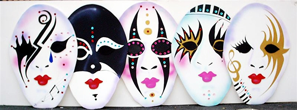 Egg Shaped Masks:  foamcore, 16 available) 4' tall