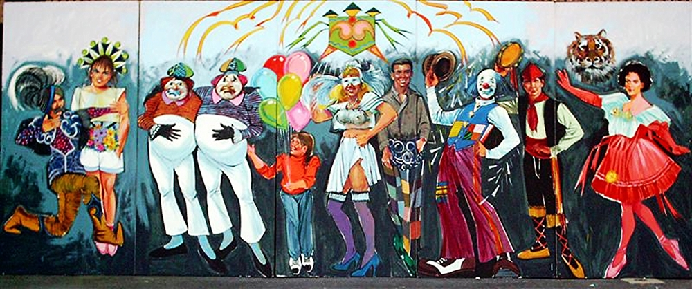 Mardi People Scene #2:  foamcore, 8' tall and 20' wide