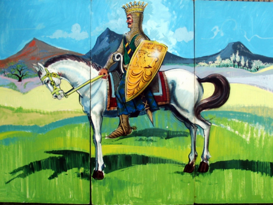 Knight on Horse:  Scene is 8' high and 12' wide, foamcore