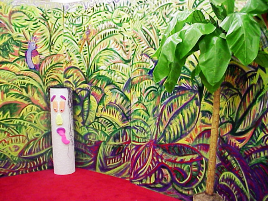 Tropical Scenery with Banana Palm Tree:  measures 16' wide and 8' high, wooden (white column no longer available)