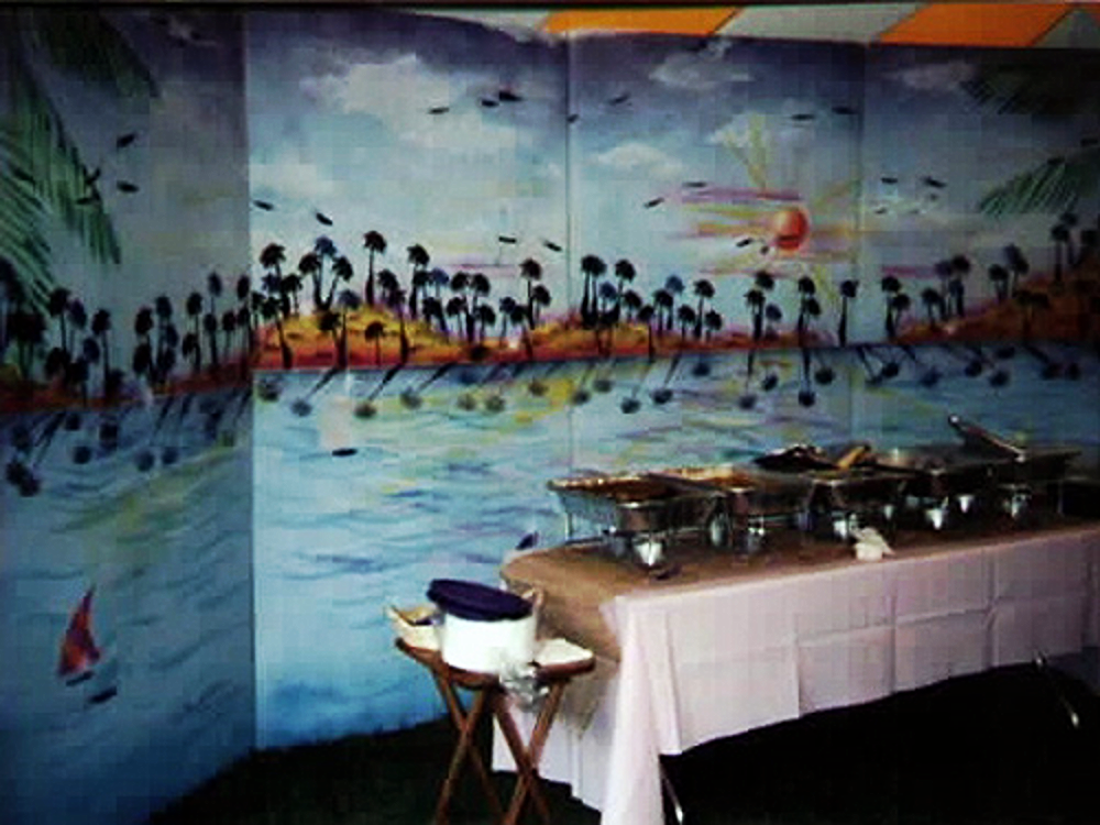 Beach Scenery:  Painted on wood, tropical beach with sun setting, measuring 16' wide by 8' high