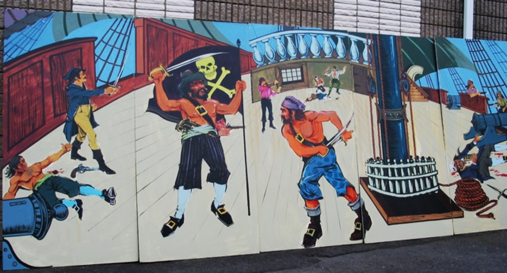Pirate Fight Scene:  measures 8' high and 20' wide, foamcore.