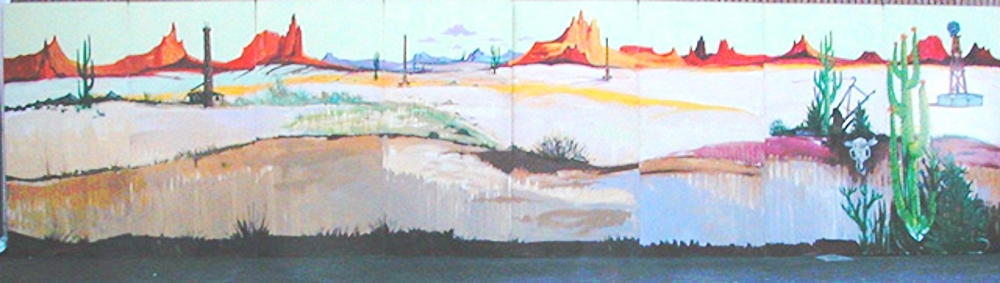Western Desert Scene:  measures 8' high and 32' wide, foamcore.