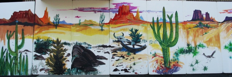 Western Desert 2:  Scene measures 8' high and 28' wide, foamcore.