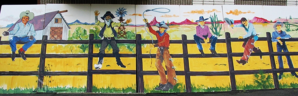 Western Cowboys:  measures 8' high and 28' wide, foamcore.