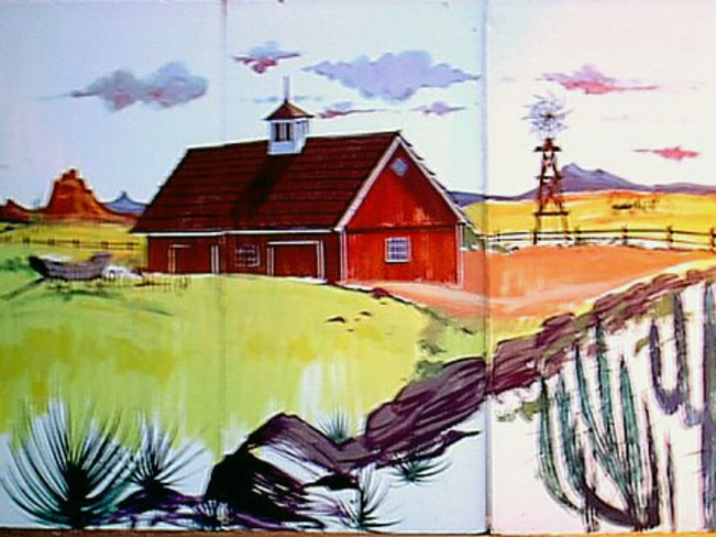 Western Farmhouse:  measures 8' high and 12' wide, foamcore.