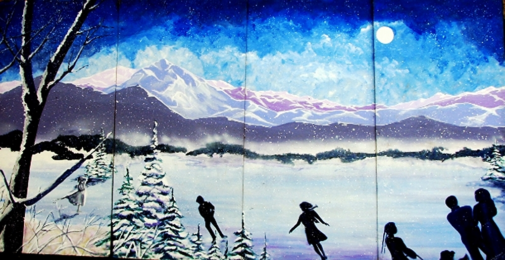 Winter Wonderland Scene: measures 8' high and 16' wide,  painted on wood.